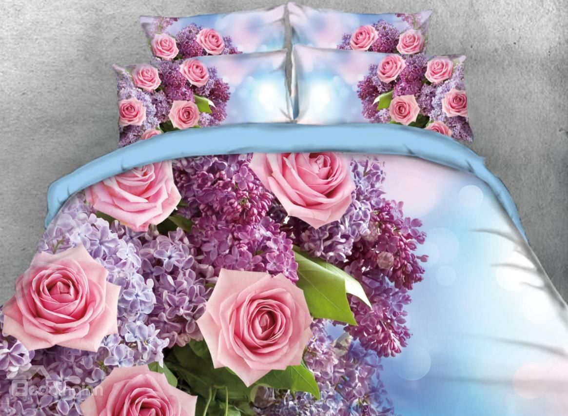 Onlwe 3D Bouquet Of Roses And Hyacinth Printed 4-Piece
