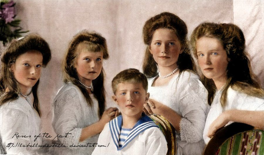 The Romanov children,those who would be the last imperial children of Russia,(L-R) the Grand Duchesses Tatiana,Anastasia,Tsarevich Alexei and Grand Duchesses Maria and Olga Romanova.Year 1910.