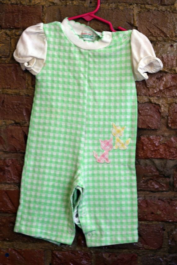 Health-tex Baby Girl Green Gingham Kitten Onesie 9 by GypsyBeard