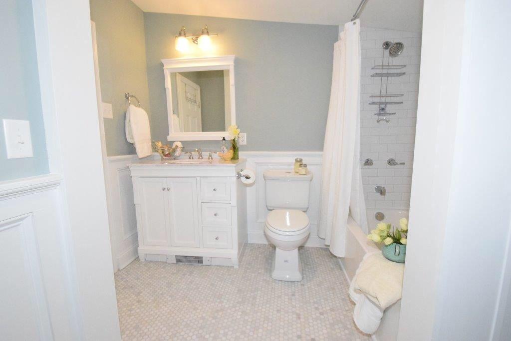 Benjamin moore beach glass and white bathroom hexagon marble floor tile also