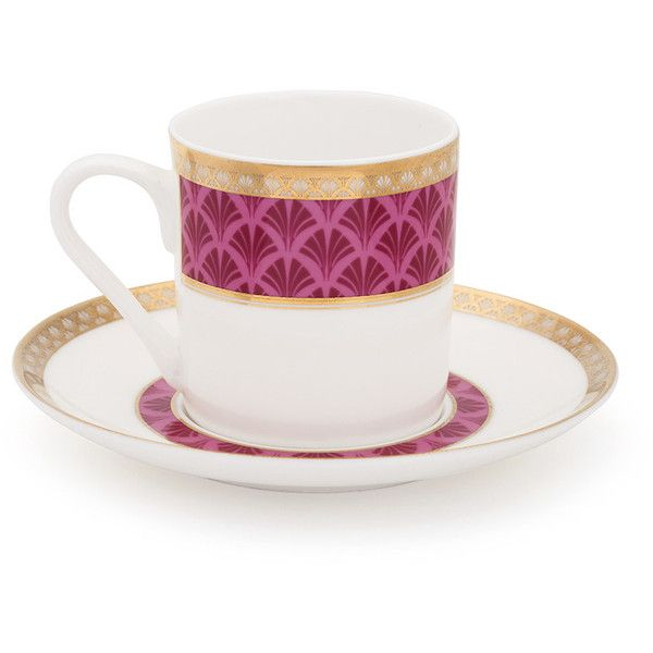 Mrs Moore's Vintage Store Harley Coffee Cup & Saucer - Pink ($71) ❤ liked on Polyvore featuring home, kitchen & dining, drinkware, pink, pink cup and saucer, coffee cup saucer, espresso cups and saucers, coffee cups and saucers and espresso coffee cups and saucers