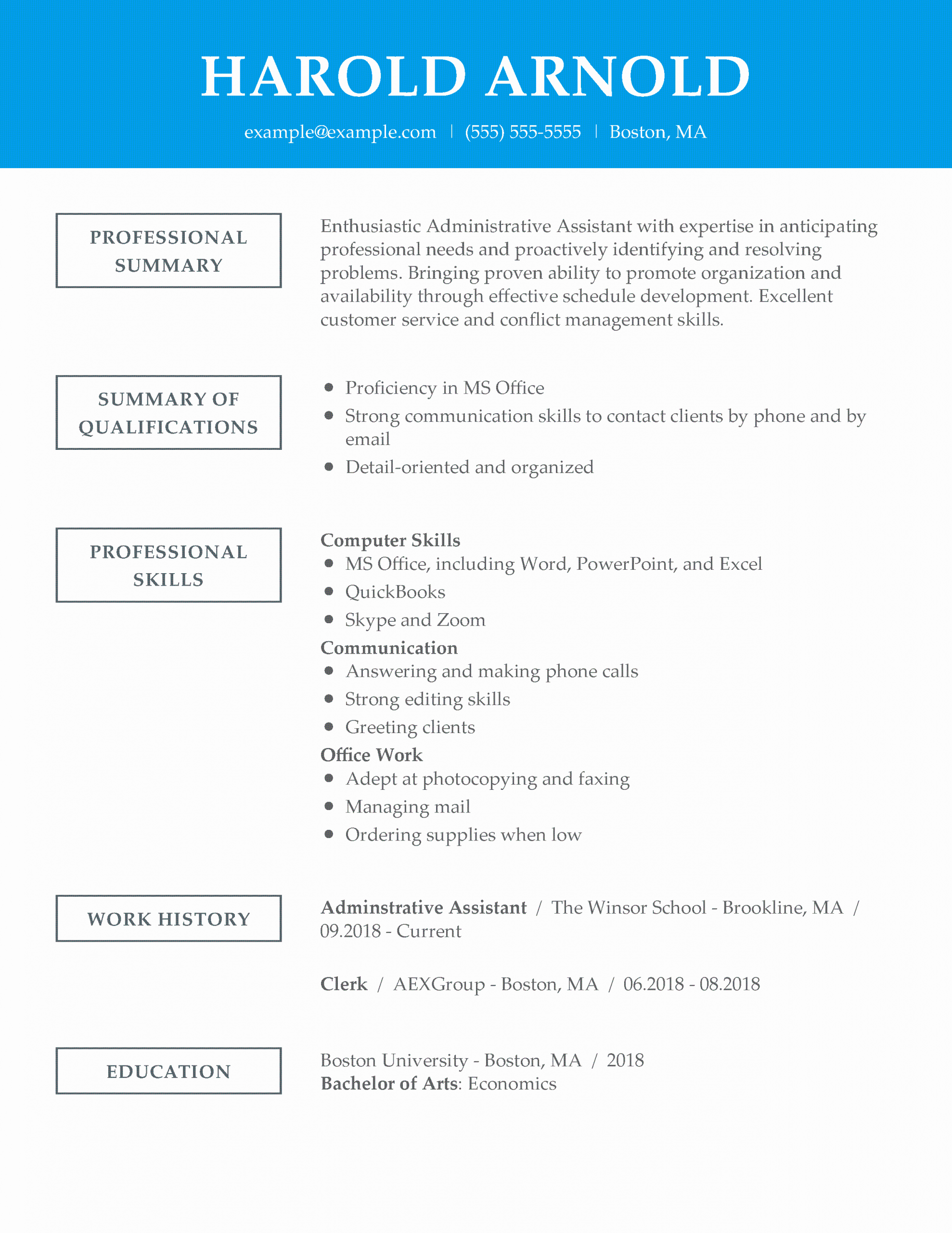 Administrative assistant Resume Template Inspirational