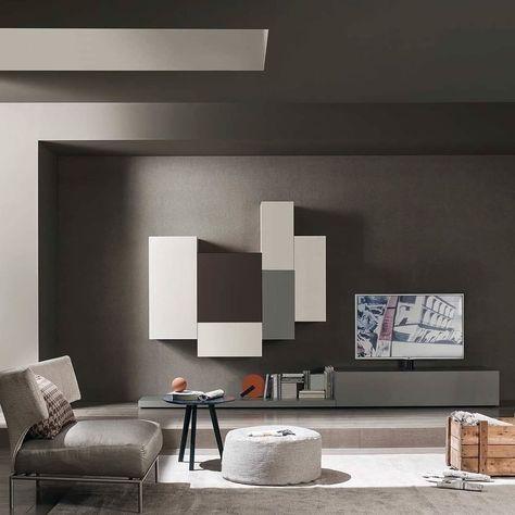 Der vertikale Design Hängeschrank ist in 4 Höhen und 3 Breiten - innenarchitektur design modern wohnzimmer