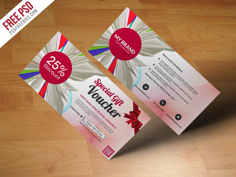 Multiuse Gift Voucher Template Free PSD Template, Logos and Gift - coupon sample template