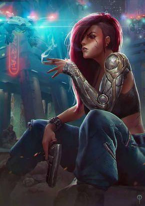 64 Badass Cyberpunk Girl Concept Art & Female Character Designs