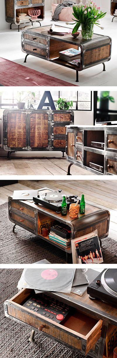 Couchtisch In Holz Metall 120 60 45 Cm Couchtisch Tisch Und