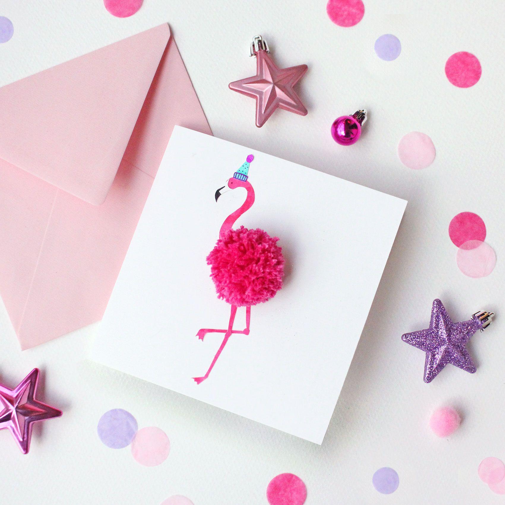 Make Your Own Flamingo Pom Pom Christmas Card Handmade Birthday