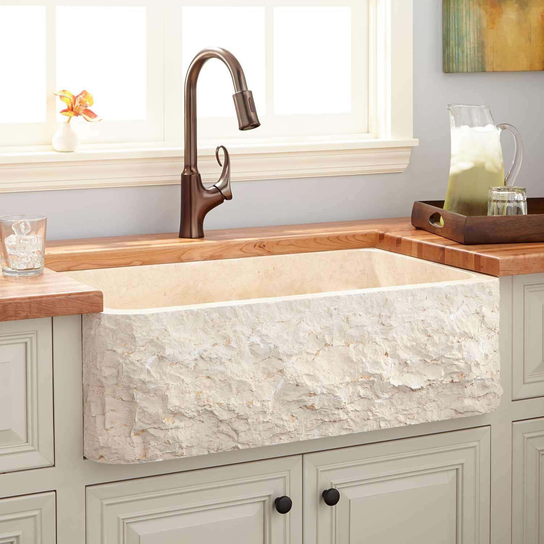 """36"""" Polished Marble Farmhouse Sink - Chiseled Apron - Cream Egyptian"""