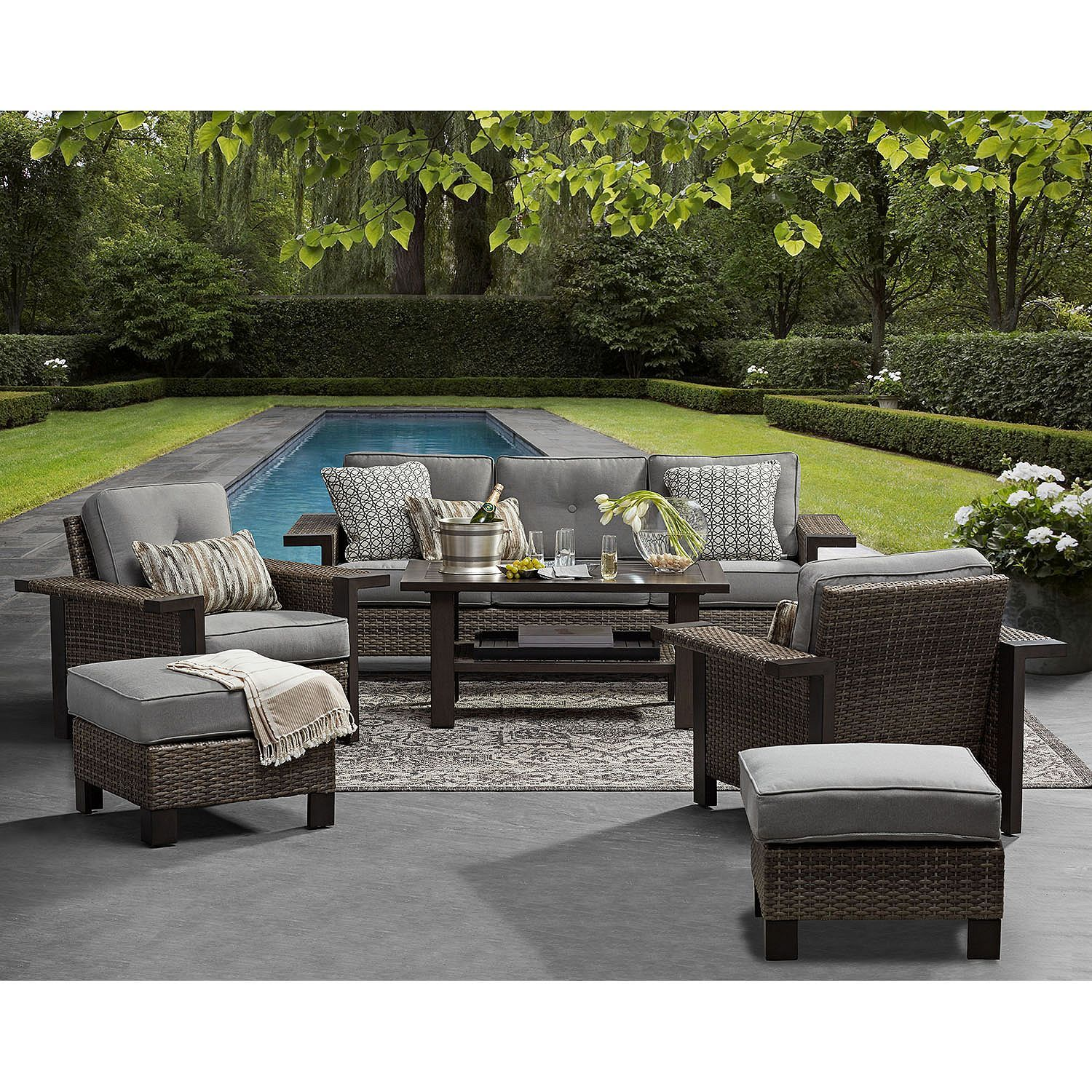 Member S Mark Agio Manchester Seating Set Sam S Club Patio Patio Sofa Set Outdoor Furniture