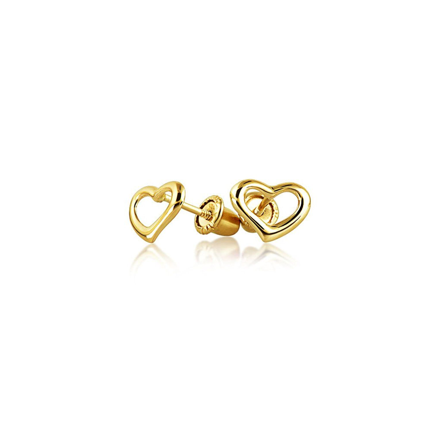 89b6511ca 14K Yellow Gold Safety Screwback Heart Studs Baby Earrings ** Check out  this great article.