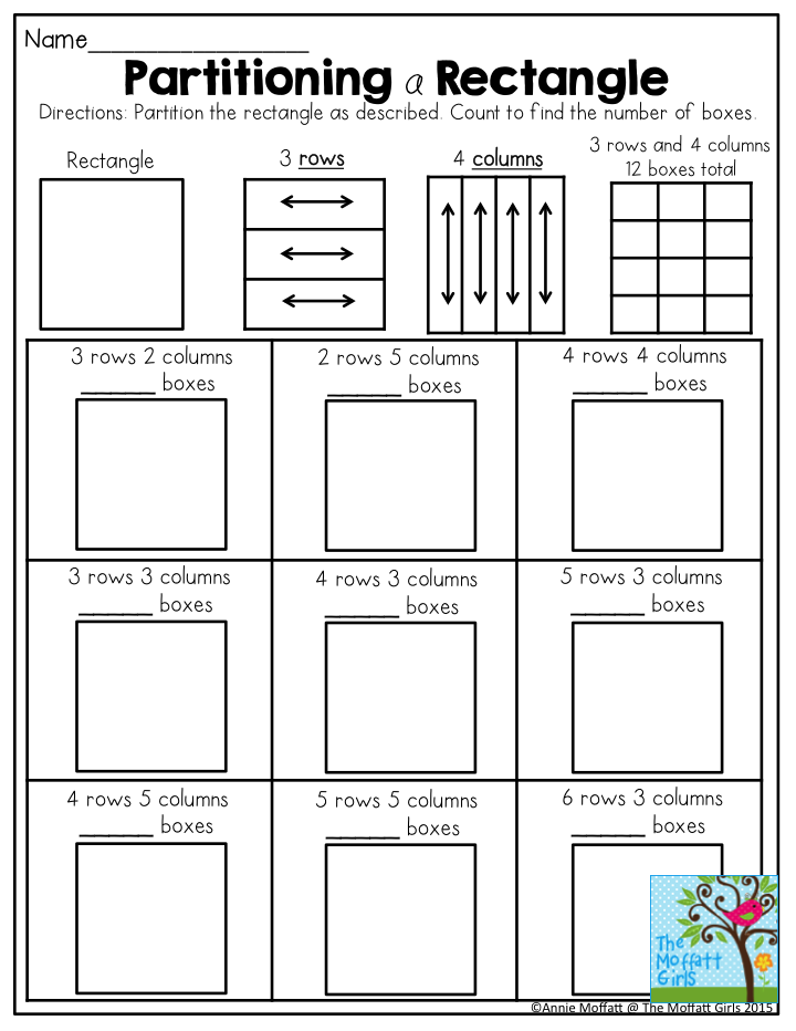 Partitioning A Rectangle An Activity To Help Students Understand Arrays With Rows And Columns To Help Visualize How Multipl Math Math School Second Grade Math