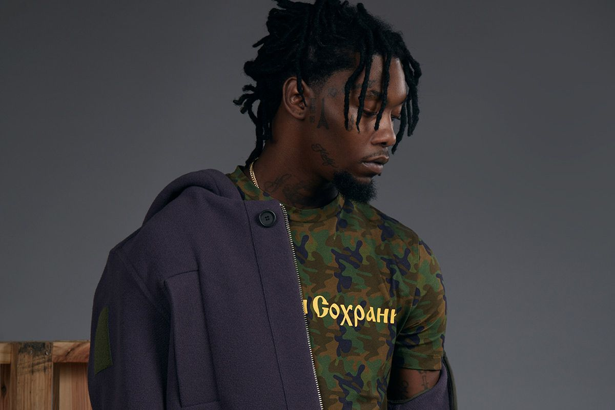 ab294098def Migos s Offset Flaunts His Ink and Style in 2016 Fall Winter Gosha  Rubchinskiy…