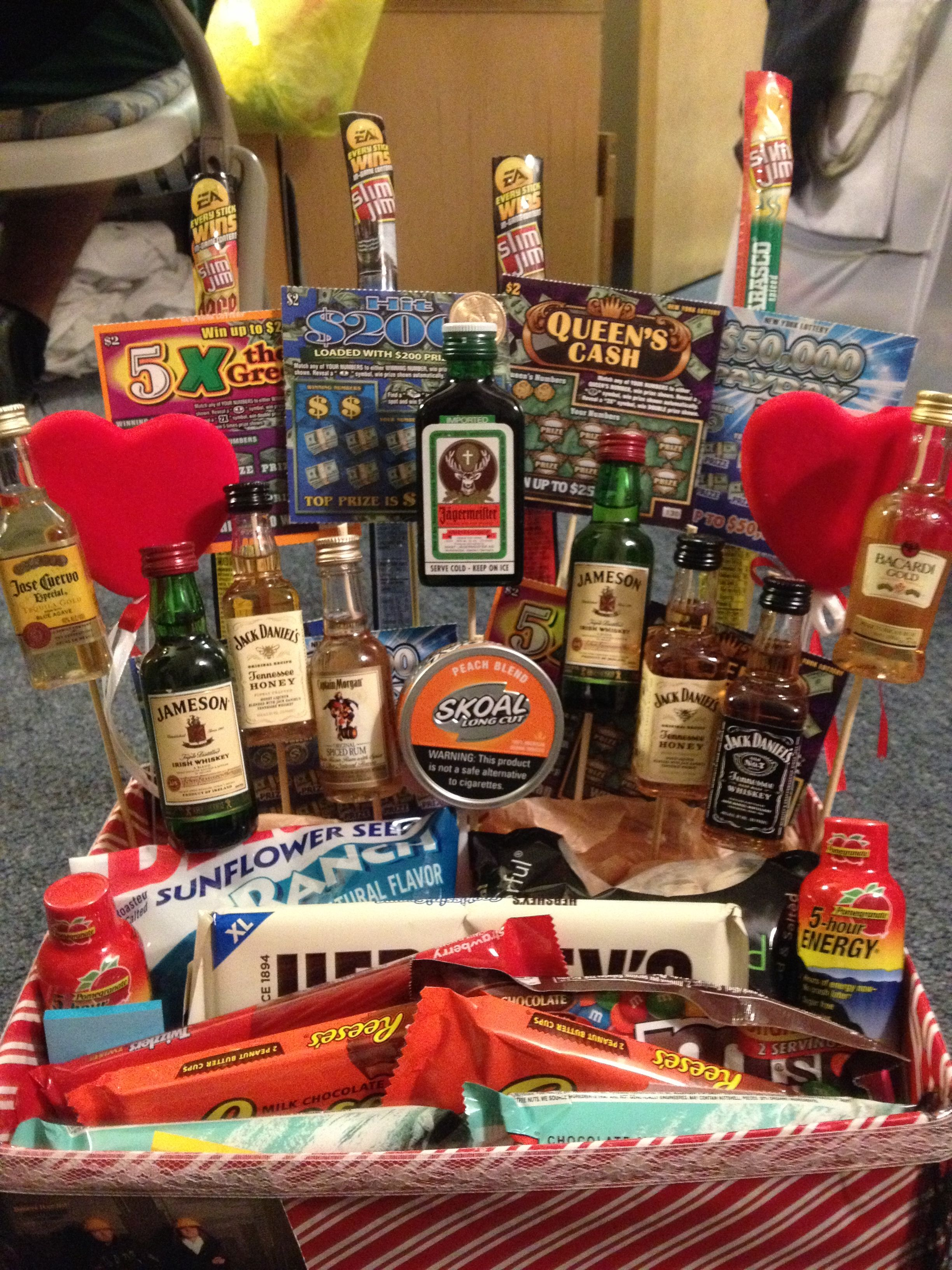 9c6c2523a54a Made my boyfriend a manly valentines day basket! Filled with shots ...