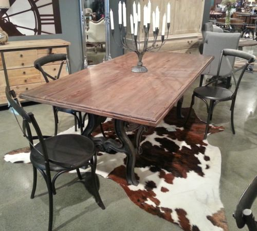 Industrial Iron Base 84 Quot Dining Table Wood Top Dining