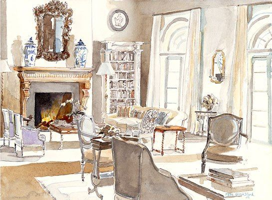 Limited-edition prints of Mita Corsini Bland\u0027s watercolors of famous interiors are now available through Tiger Flower Studio an online art shop. & Mita Corsini Bland Brings Her Interior Watercolors to Tiger Flower ...