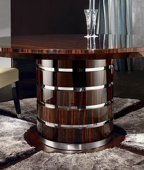 Dining Or Center Hall Circular Makassar Ebony Table With Inlaid Top A8010 Round Dining Table Modern Dining Table Steel Dining Table