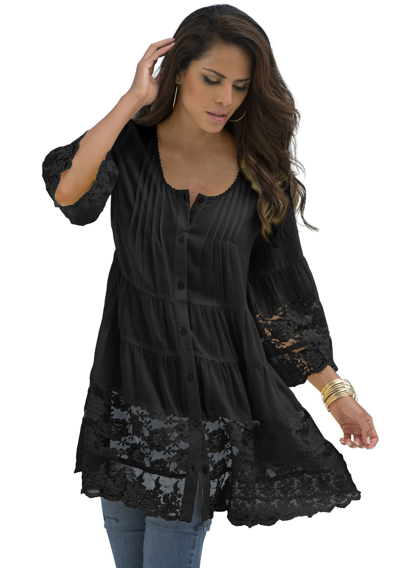 da4a264784e Our most feminine shirt ever. relaxed silhouette button down front lace…