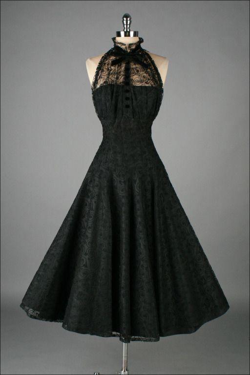 Vintage 1950s Paul Sachs Black Tuxedo Lace Cocktail Dress