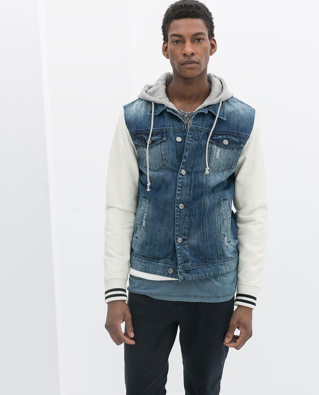 Zara Man Denim Jacket With Faux Leather Sleeves And Hood Denim Jacket Jackets Clothes [ 1269 x 1024 Pixel ]
