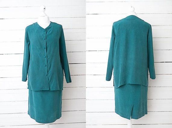 1980 S Women Dark Green Silk Office Skirt Suit By Covervintage