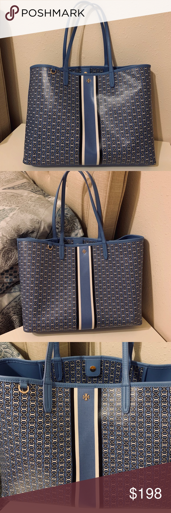 Tory Burch Gemini link tote in blue color New never used Holds a 15 laptop, a pair of flats, a continental wallet, a small umbrella and a phone Water-resistant coated canvas Magnetic snap closure Shoulder straps with 9.16 (23 cm) drop 1 interior hanging pocket Height: 11.55 (29 cm); length: 15.54 (39 cm); depth: 5.78 (14.5 cm) Blue dusk color goes with every outfit Tory Burch Bags Totes #smallumbrella Tory Burch Gemini link tote in blue color New never used Holds a 15 laptop, a pair of flat #smallumbrella