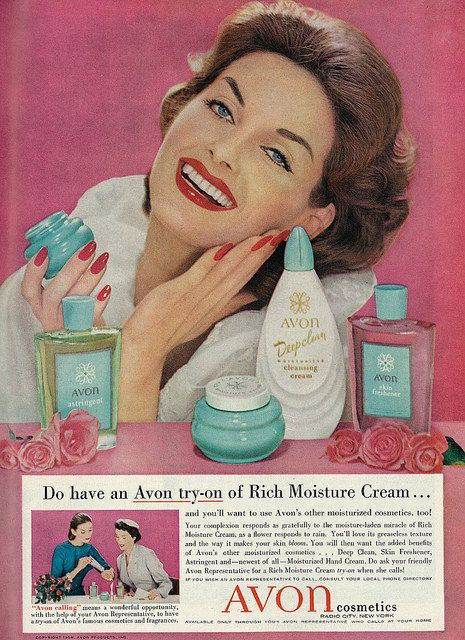 1958 Beauty Ad, Avon Cosmetics & Skin Care Products, with 1950's Super-Model Anne St. Marie | Vintage makeup ads, Vintage cosmetics, Avon cosmetics