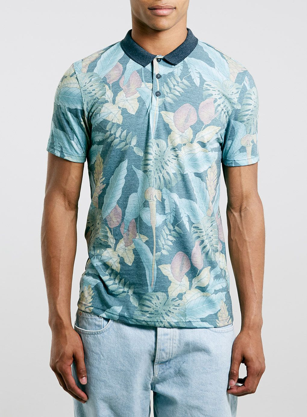 09c20bf1 Tropical styling to a smart casual look with this black jungle print polo  shirt with a contrast grey collar