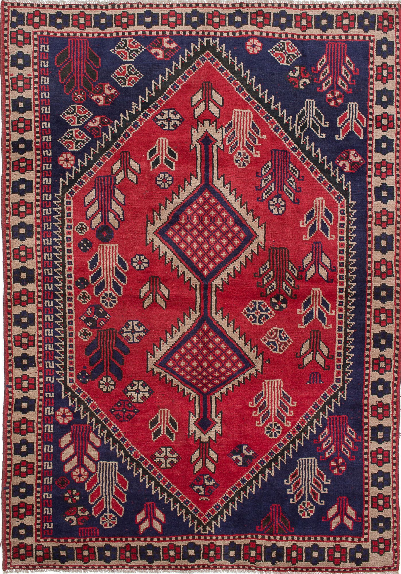Shiraz Handmade Blue / Red Area Rug