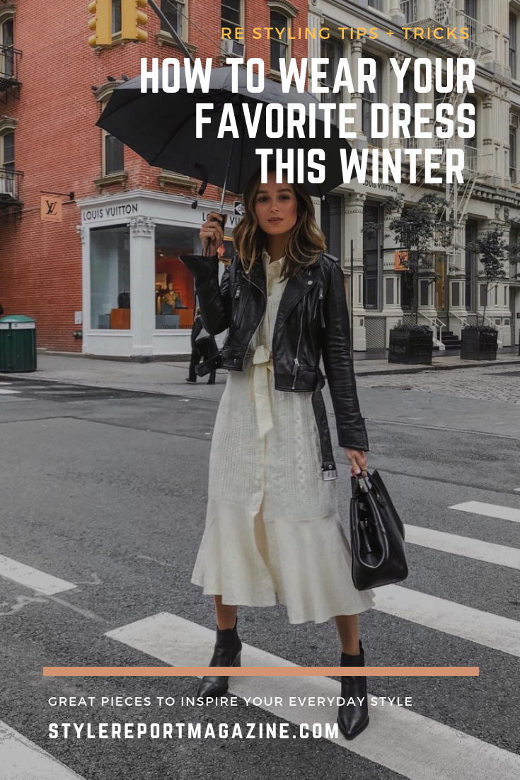 e7aec23437f A few outfit ideas on how to style your favorite dresses for the winter!  Winter style, fall style, white midi dress, black leather jacket, french  girl style ...