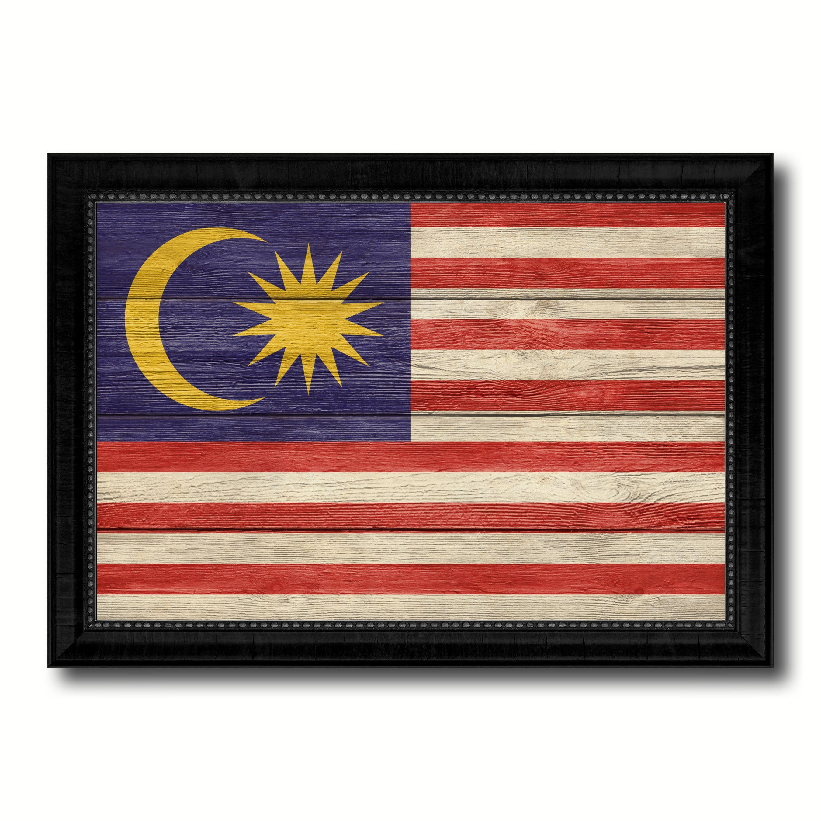 Malaysia Country Flag Texture Canvas Print with Black Picture