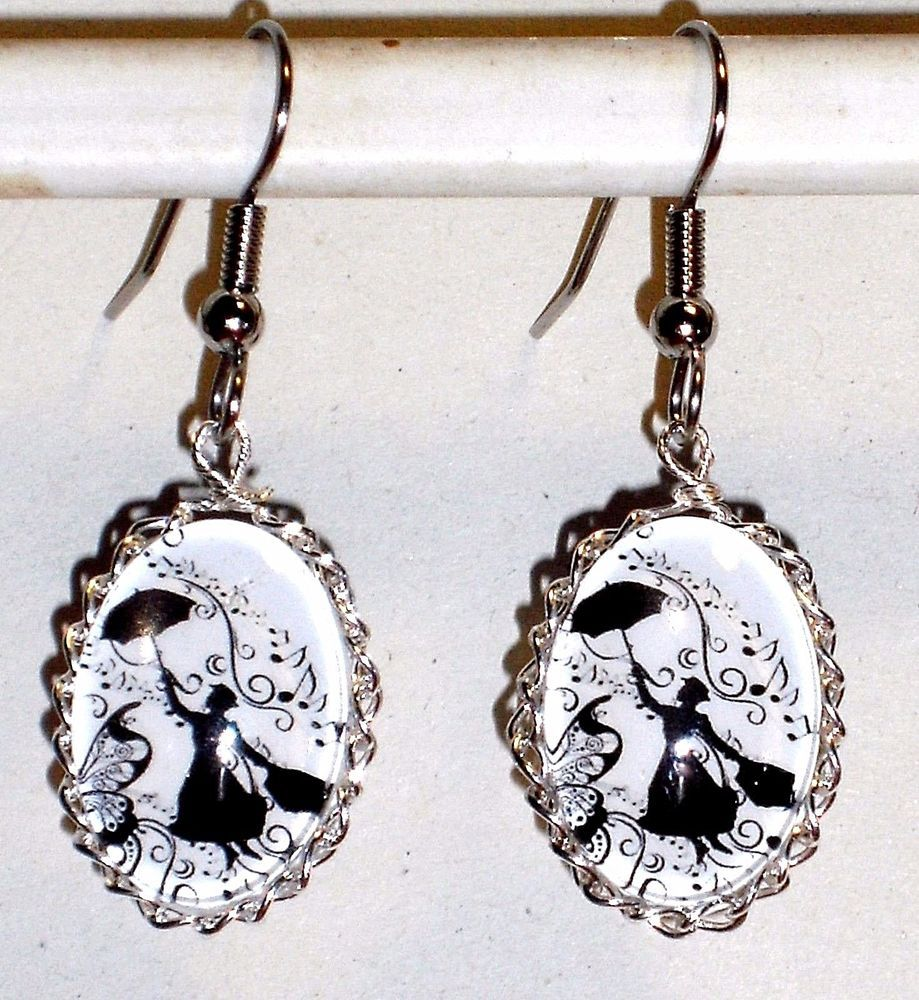 Ohrringe Mary Poppins Musik Damen Ohrschmuck Modeschmuck Rund Leverback Weiß