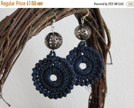 Crochet Dangle Earrings Cotton Navy, Crochet Cotton Earrings, Crochet Rustic NavyEarrings, Natural Gift Crochet Bead Jewelry https://www.facebook.com/permalink.php?story_fbid=1017314028328275&id=100001490617281