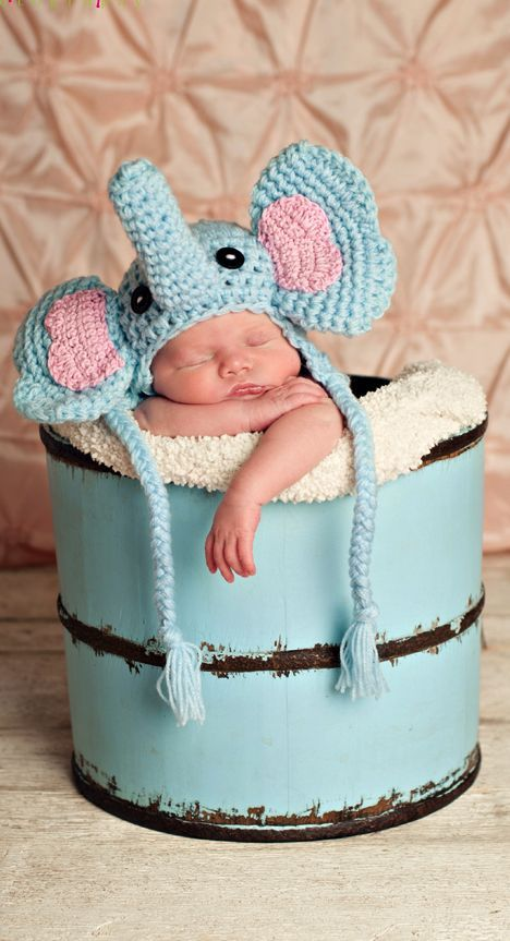 4ca00a945 Baby elephant crochet hat pattern. Want it to be grey and pink like ...