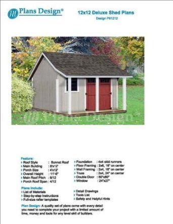 Free Material List 12/' x 12/' Backyard Storage Shed with Porch Plans #P81212