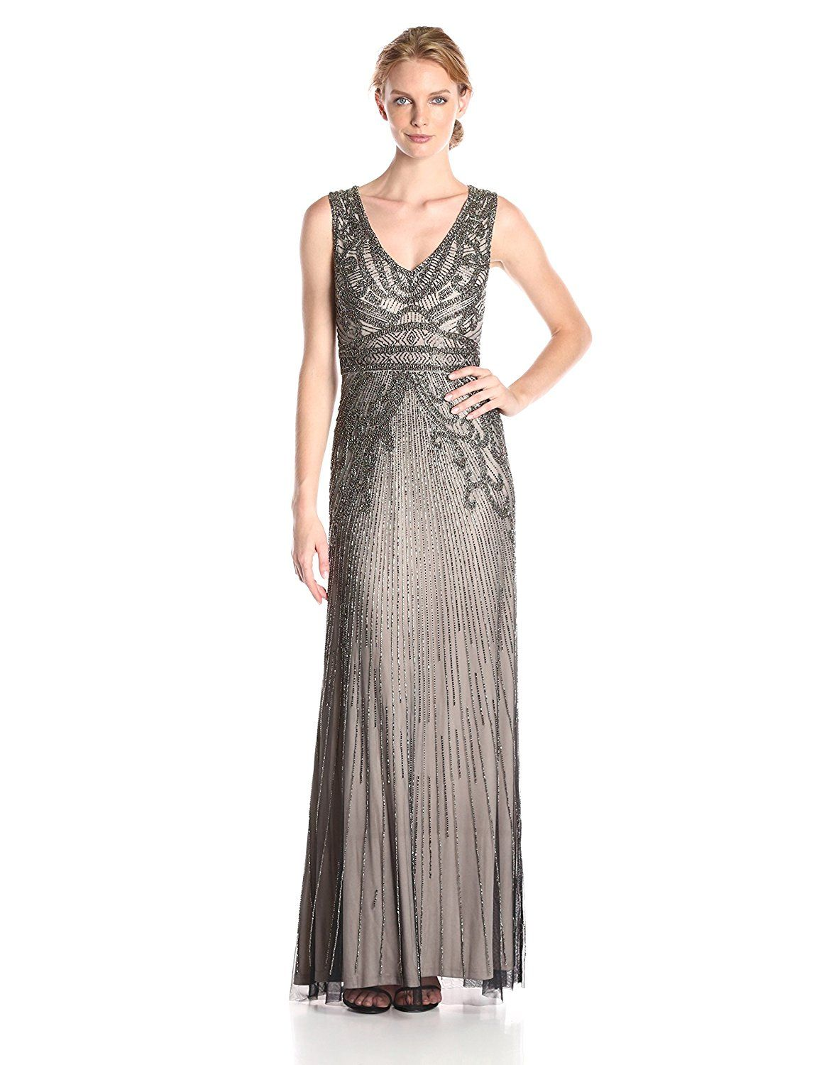 Adrianna Papell Women\'s Fully Beaded Sleeveless Gown with Waist ...