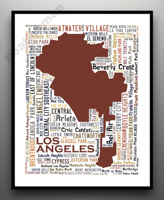 Los Angeles Neighborhoods Typography Map Art Print Choose Your Color Free Shipping Map Art Print Map Art Fragile Label
