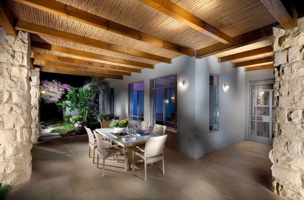 Bamboo wall decoration ideas patio contemporary with patio furniture