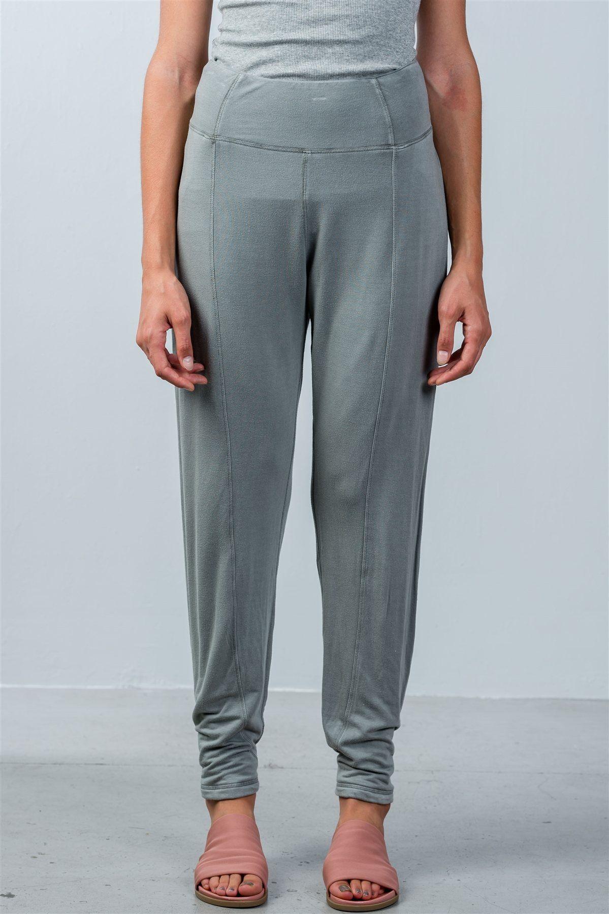 Ladies fashion elastic waistline comfortable open side pants