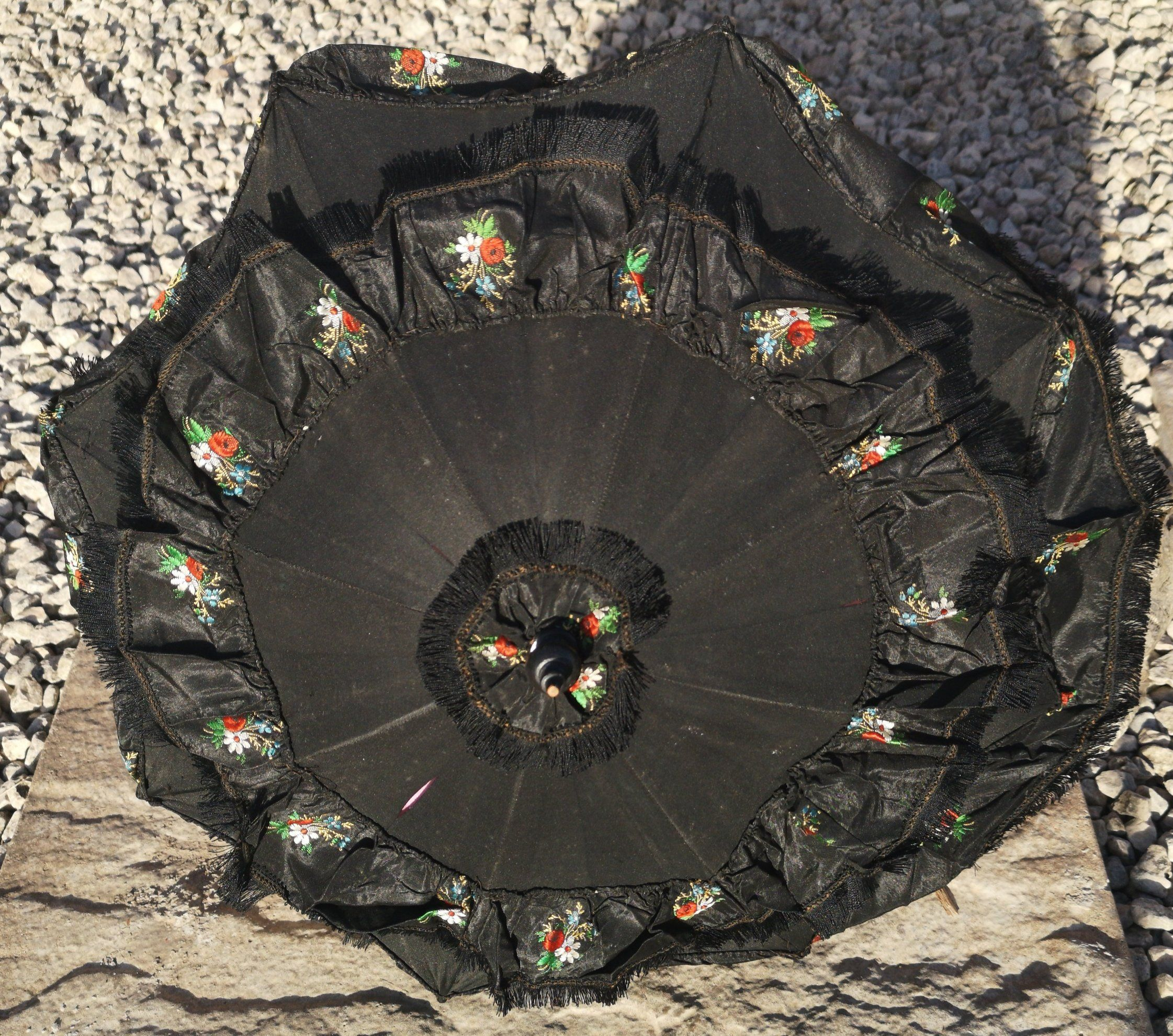 Antique mourning parasol, Victorian black embroidered silk ...
