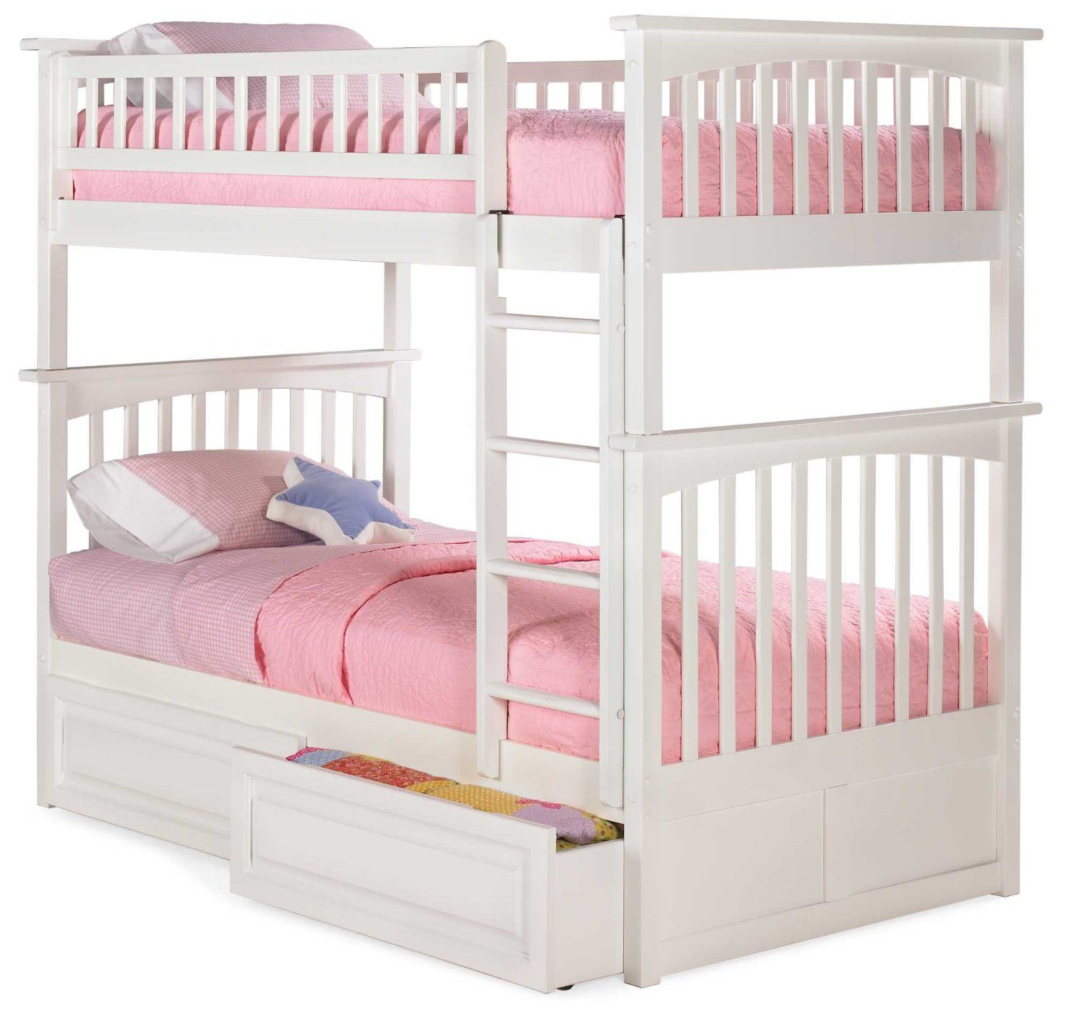 atlantic furniture - columbia bunk bed twin over twin with 2