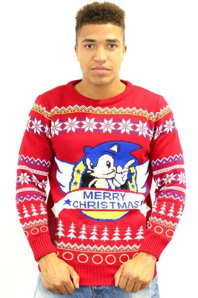 ee2f23284282 Sonic the Hedgehog Mens Christmas Sweater Jumper