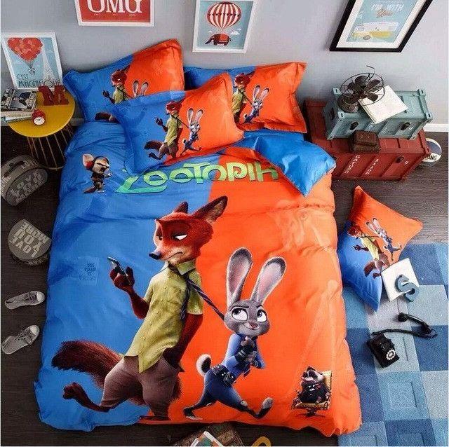 100 cotton cartoon animation zootopia 4pcs bedding sets judy nick 3d kids boy bed sheet