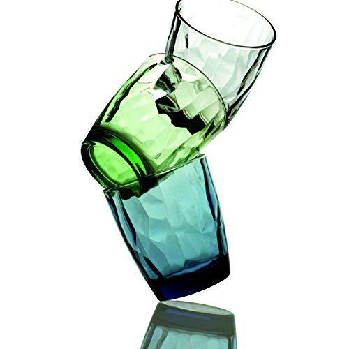 Bormioli Rocco Diamond Double Old Fashioned Glasses, Ocean Blue, Set of 6