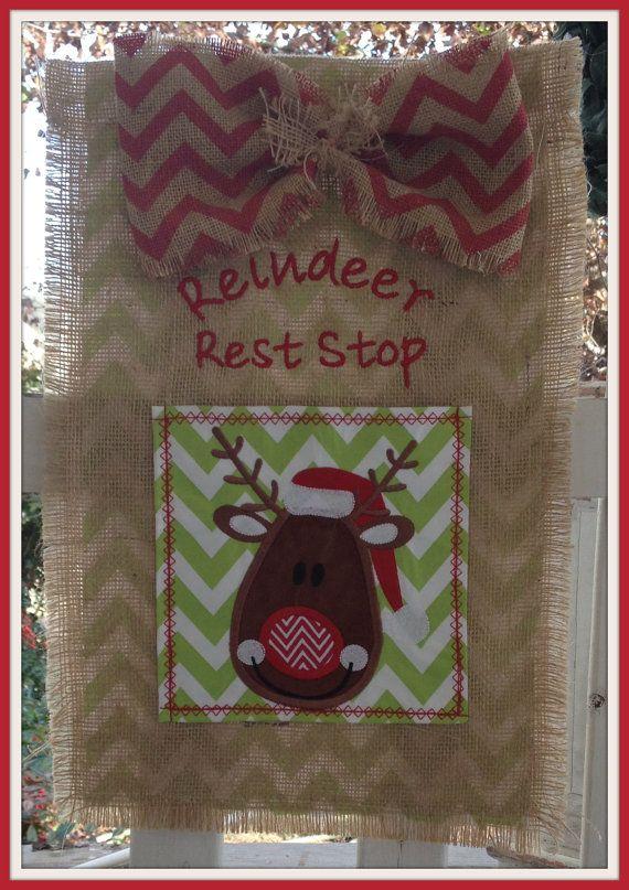Reindeer Burlap Chevron Yard Garden Flag Hanger or Door Decoration Decor  HTSNM