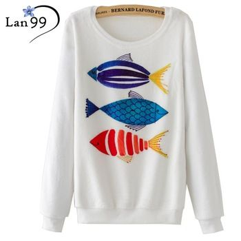Fish Print Hoodies 2016 Fashion Women Hoodie Autumn Winter Casual Sweatshirt Pullover Fish Flannel Hoodies Tracksuits Sweatshirt