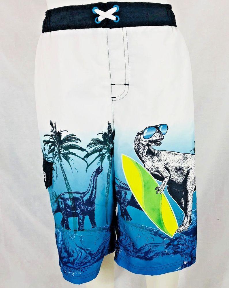 93da260fc3 OP Ocean Pacific Youth Boys White Blue Dinosaur Swim Trunks Board Short XL  14 16 #Op #BoardShorts 4.19.18
