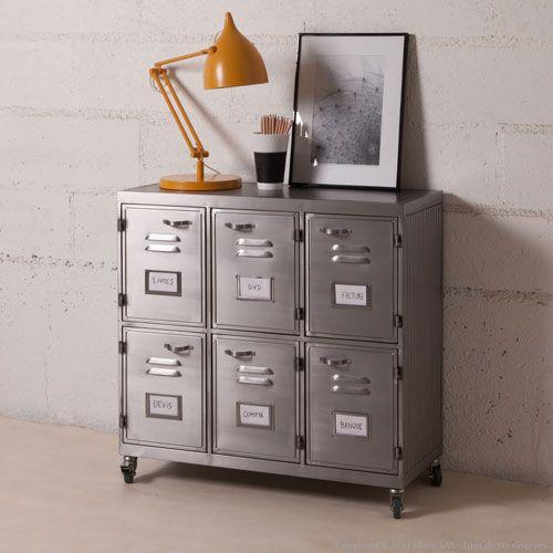 buffet en m tal gris sur roulettes 6 casiers decoclico factory bureaux pinterest casiers. Black Bedroom Furniture Sets. Home Design Ideas