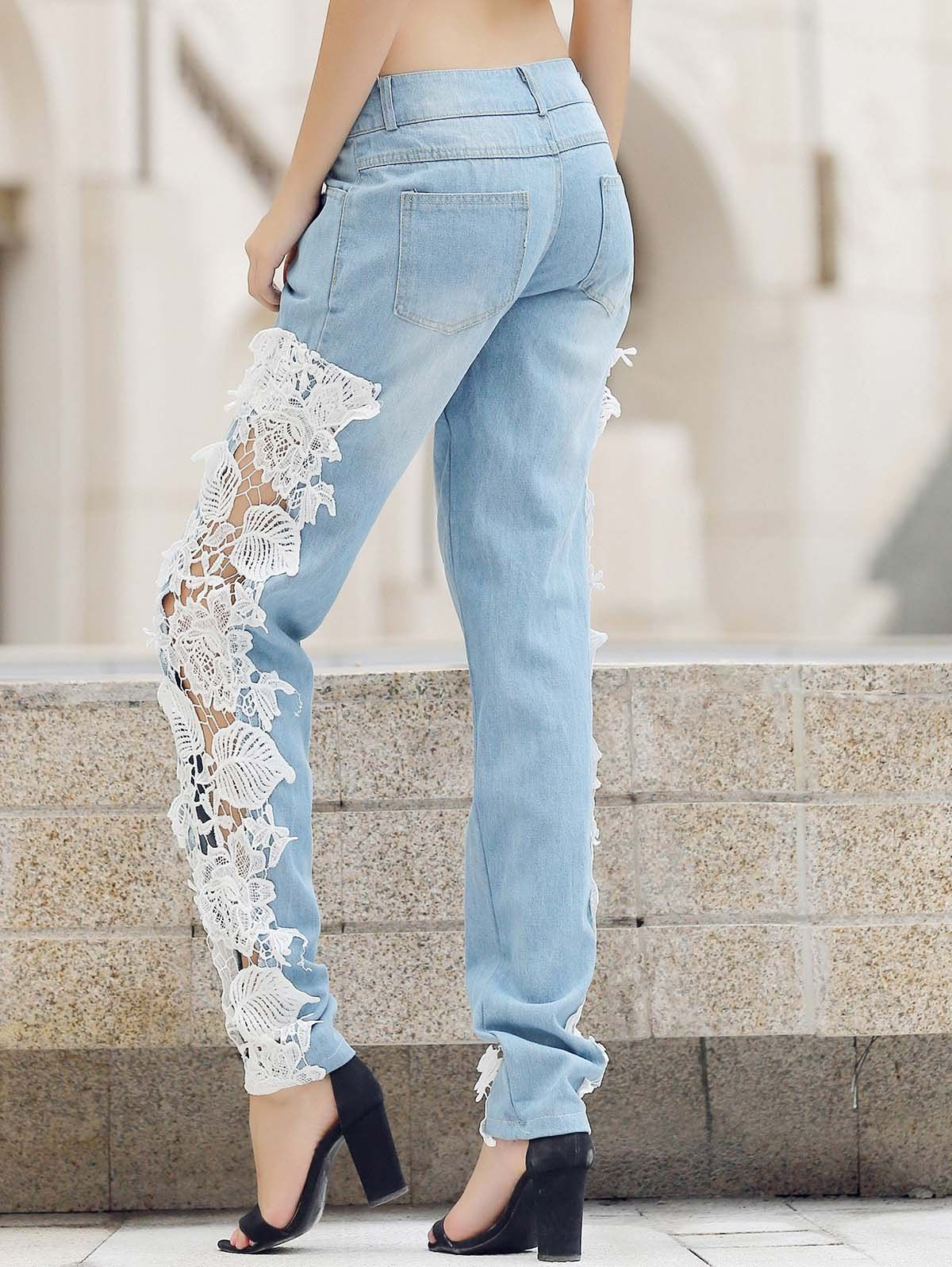 womens trendy lace jeans
