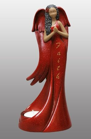 Tea Light Angel - Faith in red - figurine