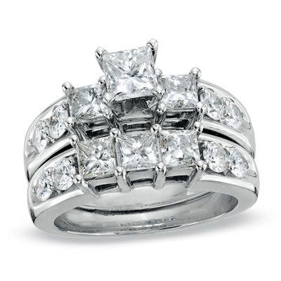T W Princess Cut Diamond Three Stone Bridal Set In 14k White Gold